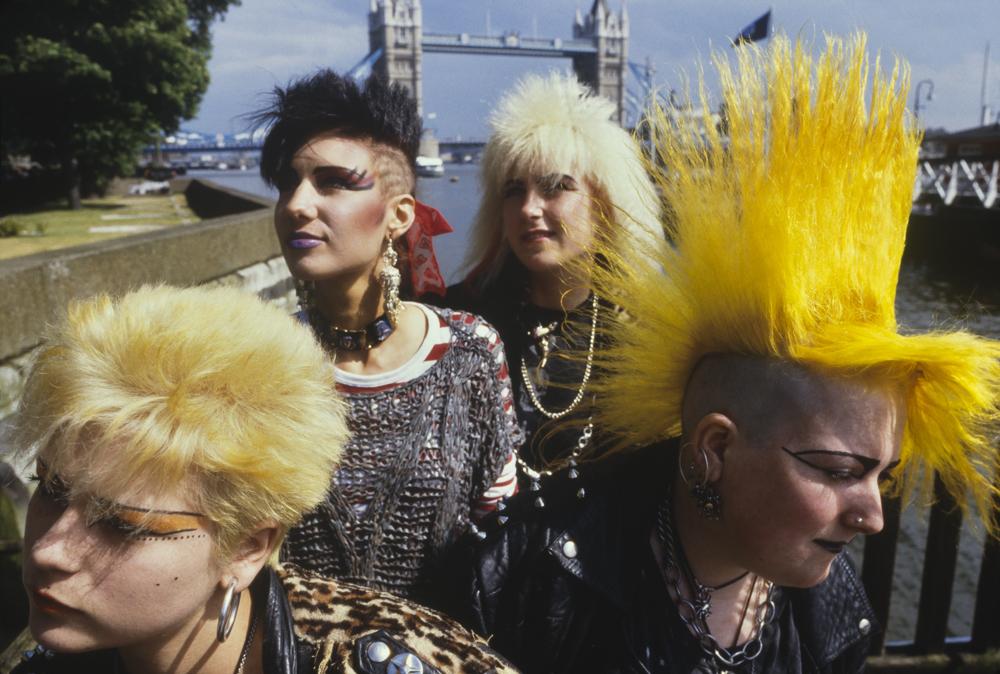 Punk girls outside Tower Bridge London